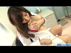 Big tit nurse showing off her big racks and rub...