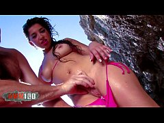 Hot latina bikini bitch sucking and fucking at ...