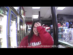 hot brunette naked in restaurant gas station an...