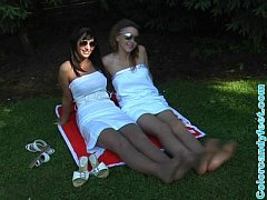 Emilie and Helen Outside in Pantyhose