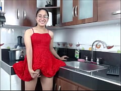 TS teen latina stroking big cock in red dress -...
