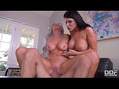 Deep Throat Lovers Romi Rain & Nina Elle Titty Fucked Hardcore