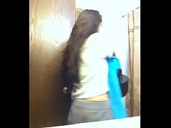 Latina Teen Takes A Shower