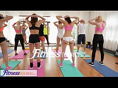 FitnessRooms Yoga girls get creampied in a yoga...