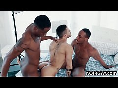Gay interracial threesome sex during photoshoot