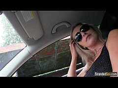 Busty teen Alena sucks strangers cock for a free ride