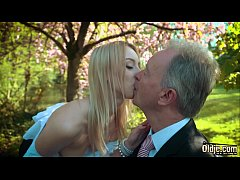 Young blonde moaning fucking an old man she swa...