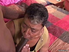 Ebony grandma loves big black cock