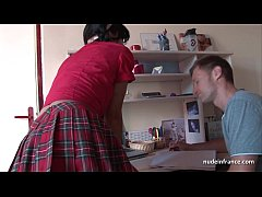 Deep analizing of a Busty french brunette in sc...