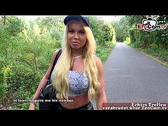 Deutsche Blonde amateur teen hat outdoor Usertr...