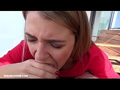 Blonde teen yoga instructor gives POV Blowjob o...