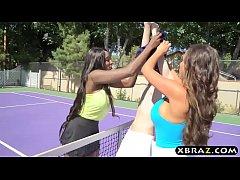 One black one white MILF tennis babes share a big rod