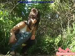 Woman Hidden Pee Outside