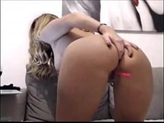 Busty brunette milf masturbating on cam