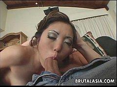 Asian cock gobbler sucking on a fella then fuck...