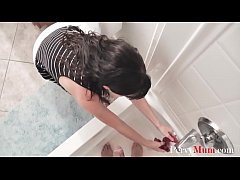 Brunette MILF MOM helps SON with DIRTY things- ...
