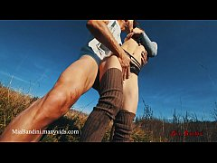 Outdoor fuck and cumshot on mouth with fitness teen Mia Bandini