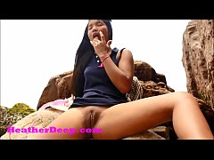 HD Heather Deep publicly squirts outdoors on th...