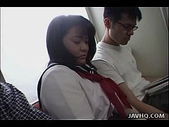 Japanese teen in school uniform has threesome U...