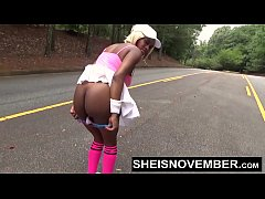 Ebony Nudity Walking Flashing Round Butt Big Ti...
