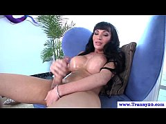 Thick cock shemale tranny jerking off