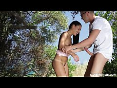 Tanned brunette teen gets fucked outdoors