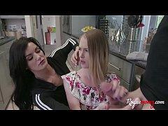 Brunette Busty Mom & Blonde Daughter Help Broth...