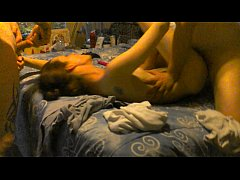 Amateur wife lets two guys creampie her little ...