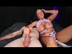 MILF Handjob while Playing with Her Pussy - Ove...