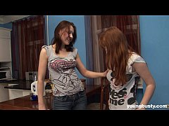 Two young busty lesbians masturbating