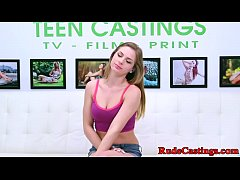 Hardfucked teen gagging at brutal casting