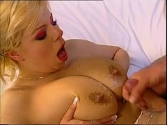 Blonde milf sucks a cock who's about to squirt ...