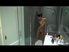 Very sexy stepmom gets recorded while showering