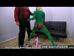 Brat Step Daughter Pay Debt By Jerking Father &...