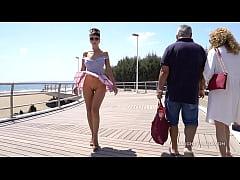Short skirt and wind. Public flashing...