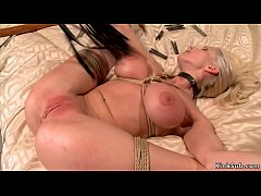 Huge tits blonde whipped on hogtie