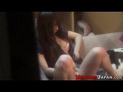Toying asian babe spied