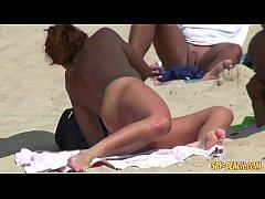 Horny Blonde MILF Amateur Close-Up PUSSY Beach ...