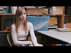 Young blonde shoplifter caught in the act and f...