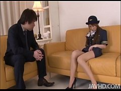 Cute and horny Yuzu Shiina in her airline outfi...