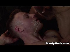 Gay hunk couple fuck till one is facialized