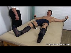 Handsome Sergey got tied up and stripped for feet tickling