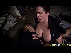 Female cops likes long black schlong outdoors