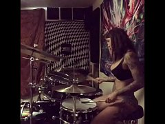 felicity feline drums in her undies at home
