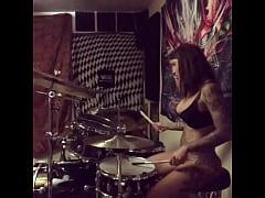 felicity feline drums in her undies at home