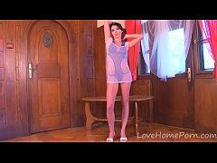 Hot lonely teen enjoys her new dildo