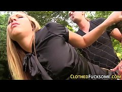 Clothed babe gets facial