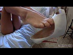 Gorgeous Asian Babe Shoe Tease and Strip