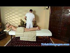 Massage babe unaware of masseurs cock