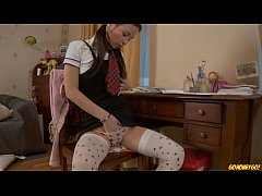 Schoolgirl doing homework stops to masturbate